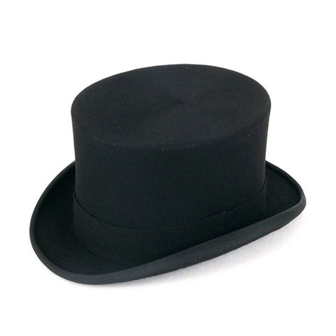Ex-Rental Wool Felt Top Hat - Black
