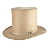 Antique Top Hat, White Gold Beaver Fur, 7 1/8 (58cm)