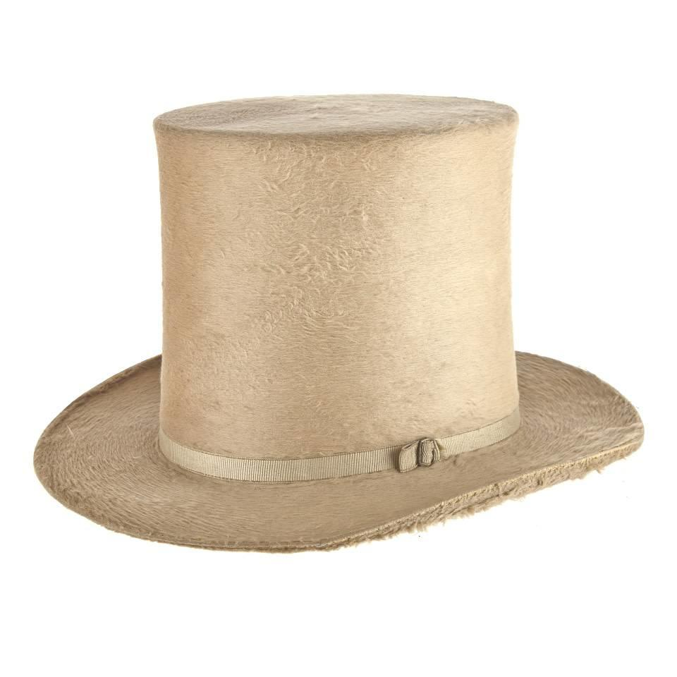 Antique Top Hat, White Gold Beaver Fur, 7 1/8 (58cm)