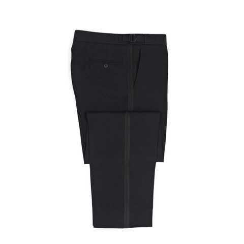 Pleated Dinner Trousers - Black Barathea