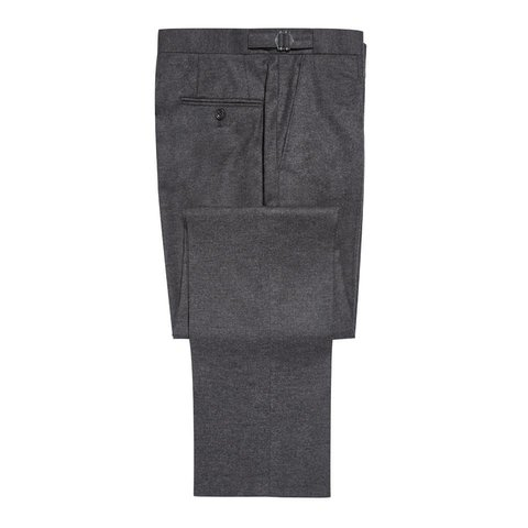 Pleated Suit Trousers - Grey Flannel