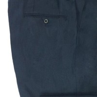 Flat Front Navy Linen Trousers