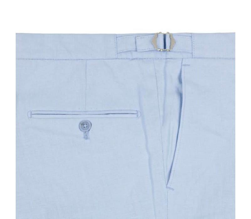 Pleated Trousers - Pale Blue Linen