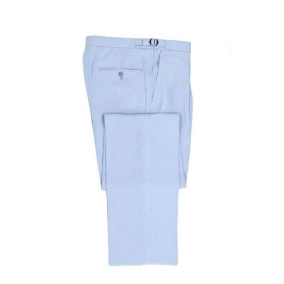 Flat Front Linen Trousers - Light Blue