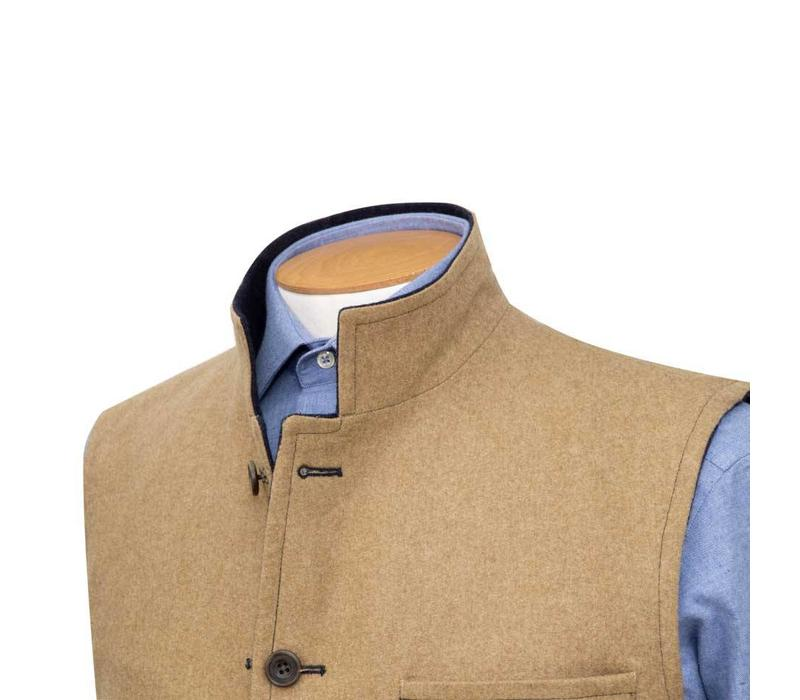 Loden Wool Reversible Gilet - Navy and Tan