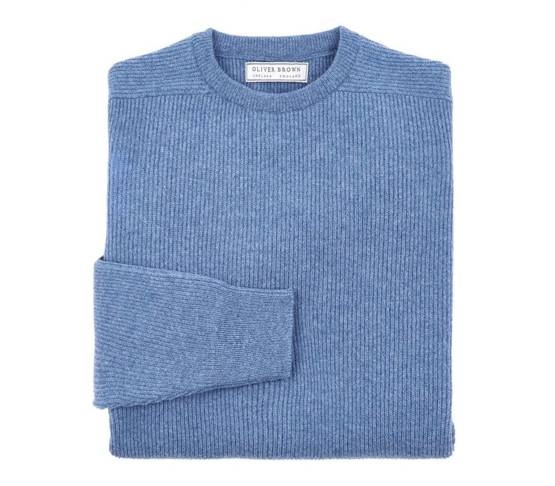 Fisherman Rib Crew Neck Jumpers - Blue