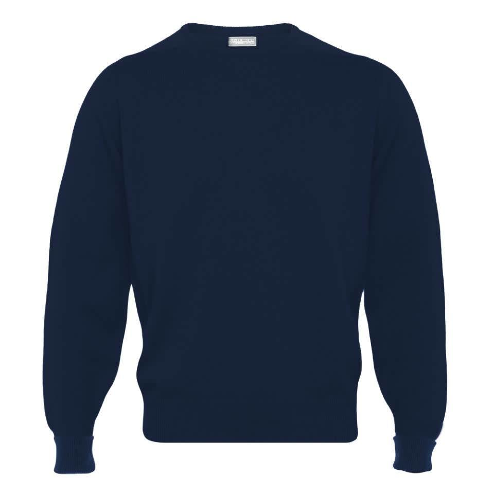 Cashmere Crew Neck Jumpers - Navy