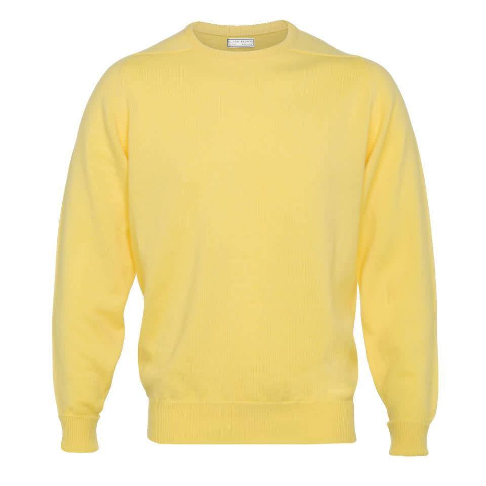 Cashmere Crew Neck Jumpers - Lemon Frost