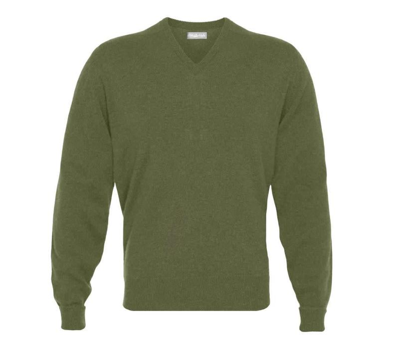 Cashmere V-Neck Jumpers - Artichoke