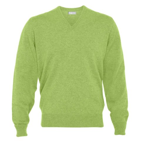 Cashmere V-Neck Jumpers - Foliage