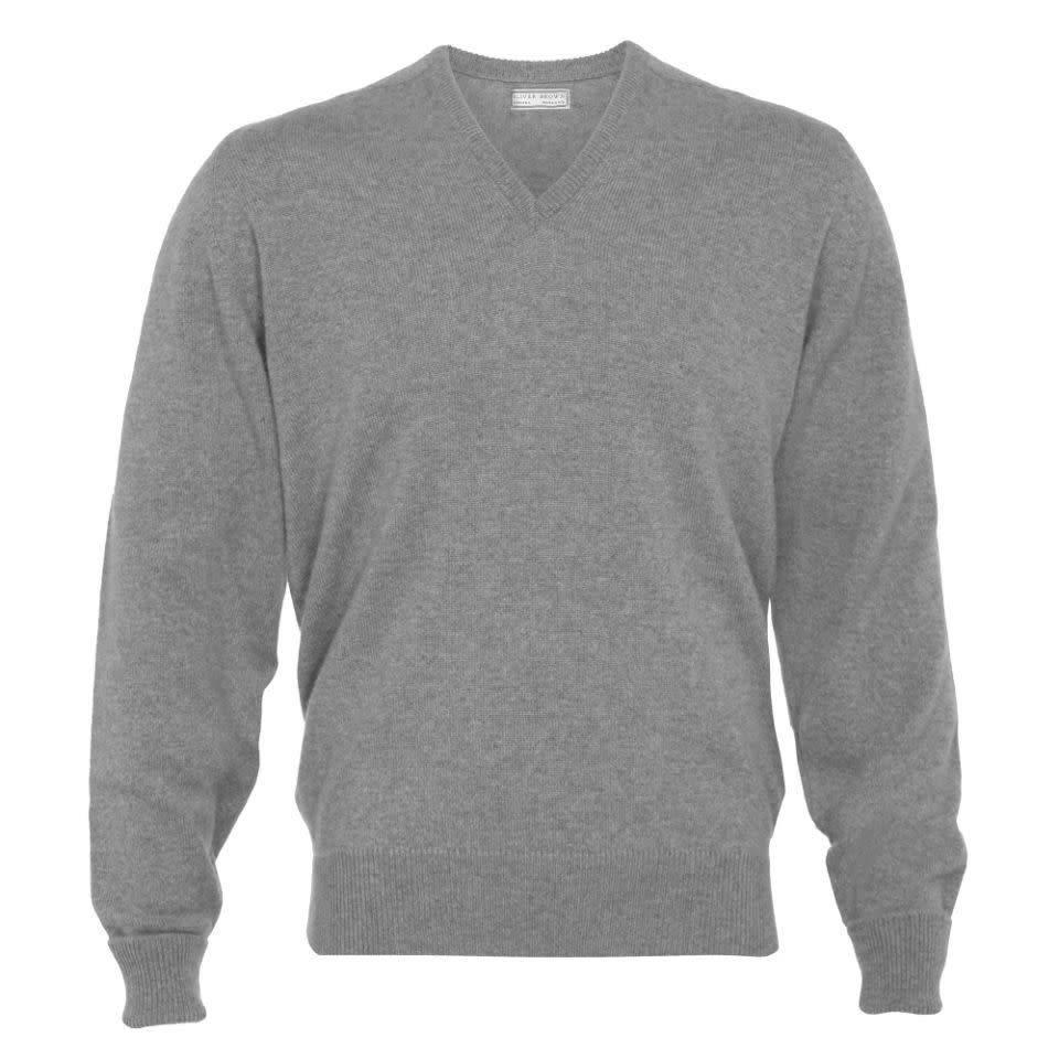 Cashmere V-Neck Jumpers - Flannel