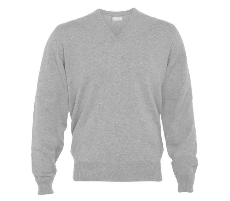 Cashmere V-Neck Jumpers - Light Grey
