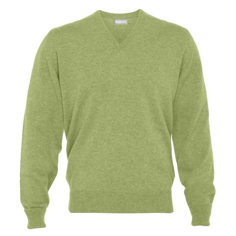 Cashmere V-Neck Jumpers - Sage