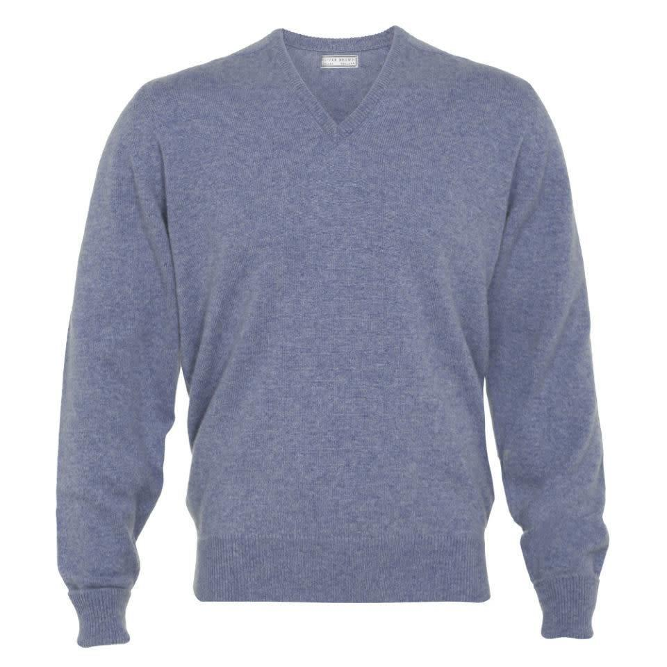 Cashmere V-Neck Jumpers - Blue Mix