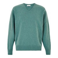 Lambswool V Neck Jumper with Suede Patches - Lovat