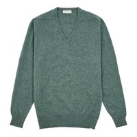 Lambswool V Neck Jumper with Suede Patches - Moorland
