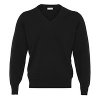 Lambswool V-Neck Jumper - Black