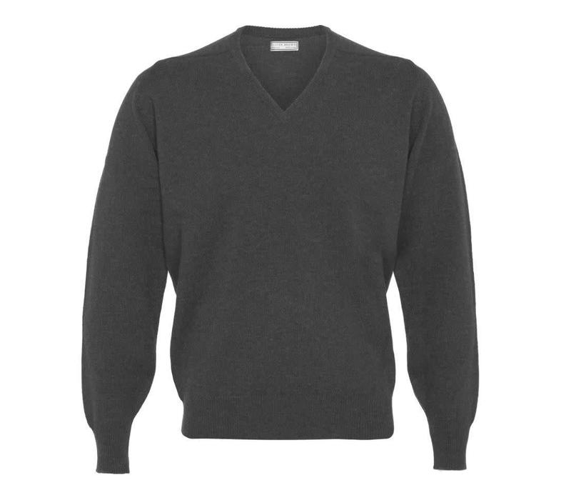 Lambswool V-Neck Jumper - Mid Grey