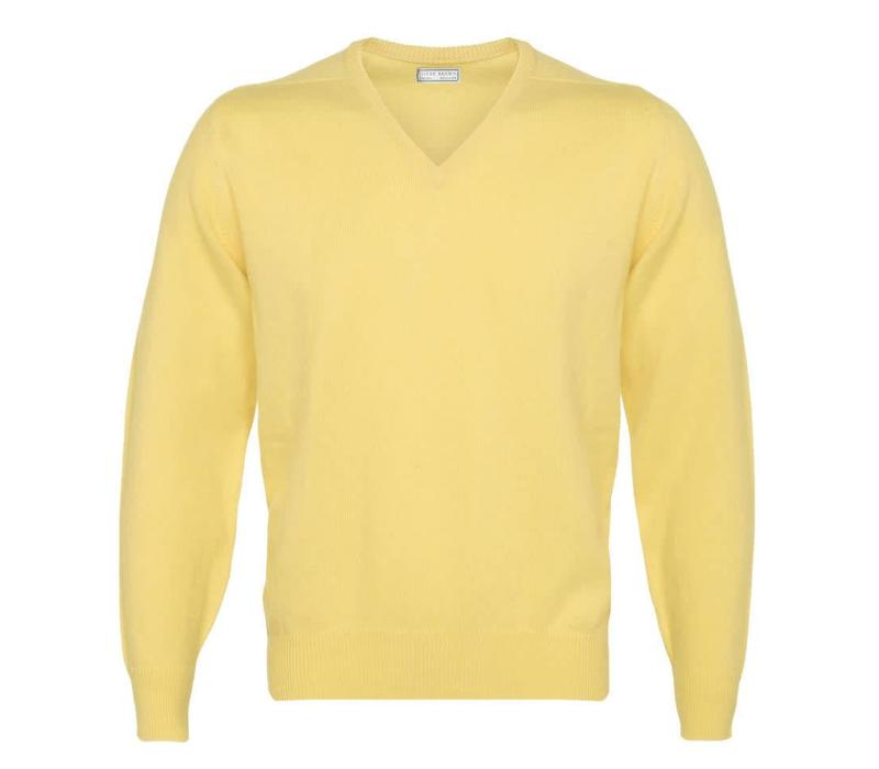 Lambswool V-Neck Jumper - Primrose