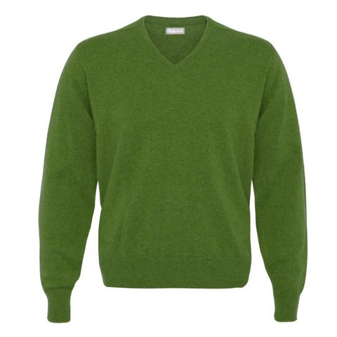 Lambswool V-Neck Jumper - Watercress