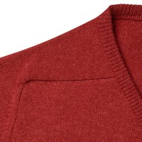 Lambswool V Neck Jumper with Suede Patches - Poppy