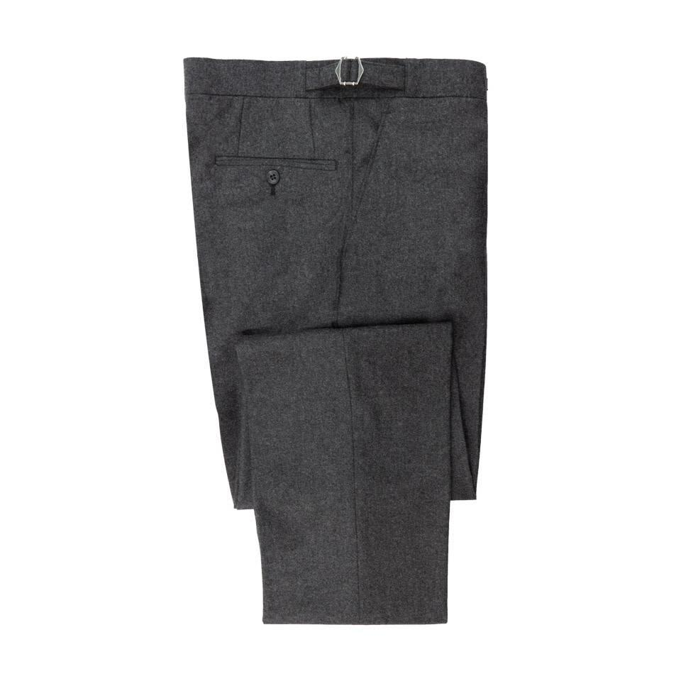 Flat Front Suit Trousers Grey Cashmere Blend
