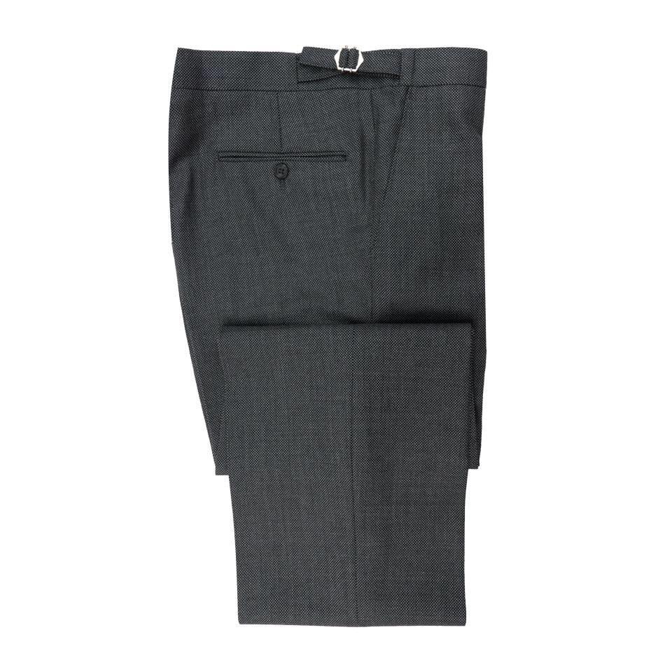 Pleated Suit Trouser - Grey Birdseye