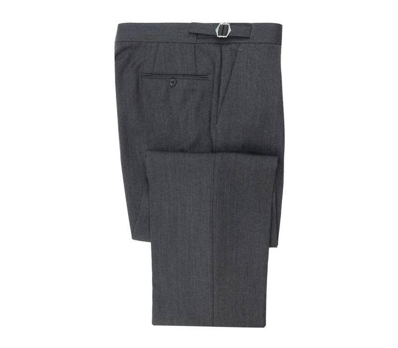 Pleated Suit Trousers - Grey  Herringbone