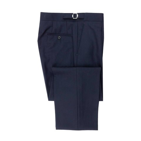 Pleated Suit Trousers - Navy Herringbone