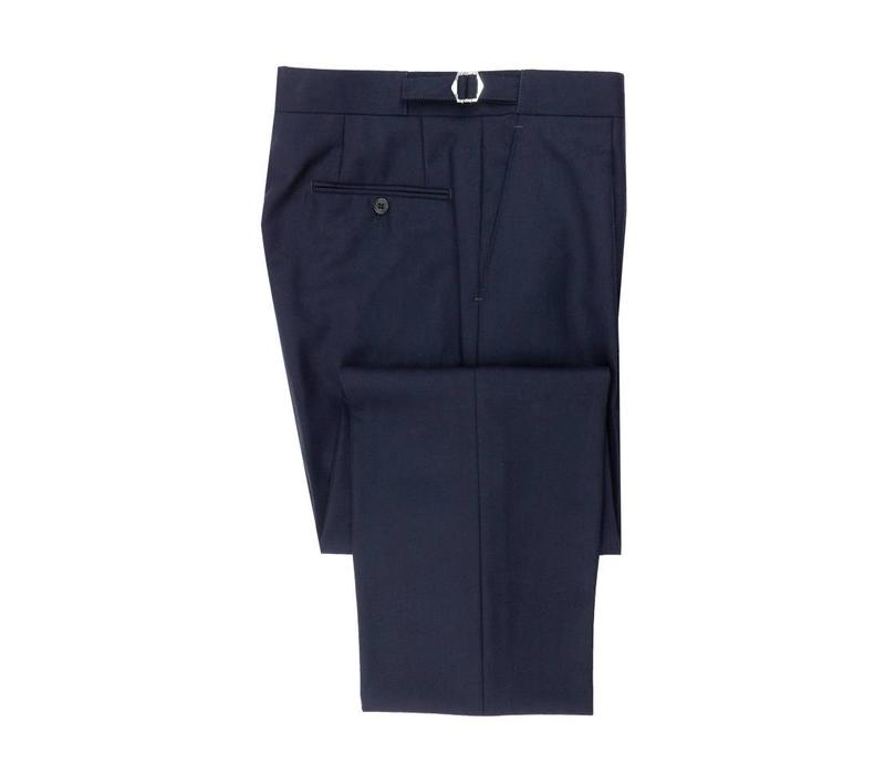 Pleated Suit Trousers - Navy Herringbone