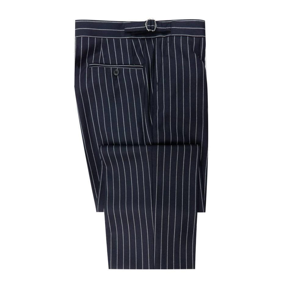 Pleated Suit Trousers - Navy Chalkstripe