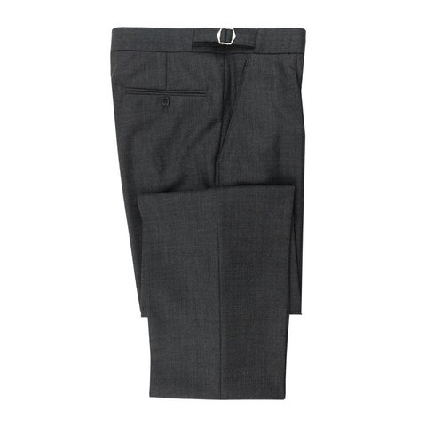 Pleated Suit Trousers - Plain Grey