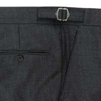 Pleated Suit Trousers - Plain Grey