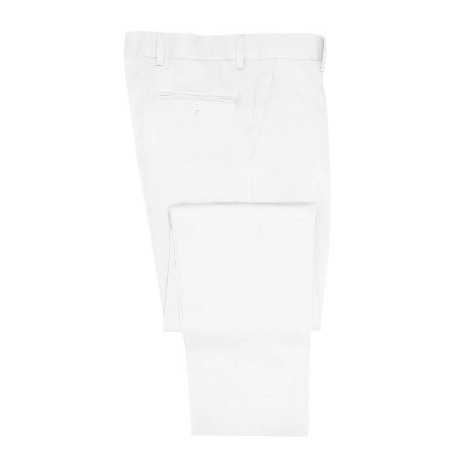 Pleated Trousers - White Cotton Drill