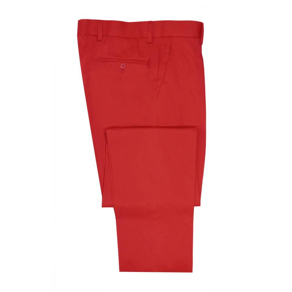 Flat Front  Trousers - Red Lightweight Cotton