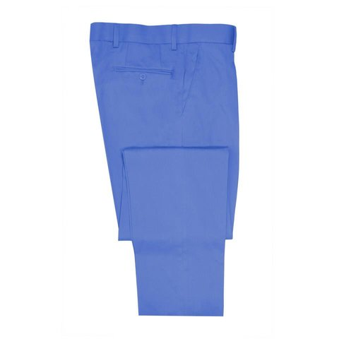 Flat Front Lightweight Cotton Trousers - Pale Blue