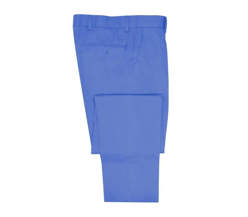 Flat Front Trousers - Pale Blue Lightweight Cotton