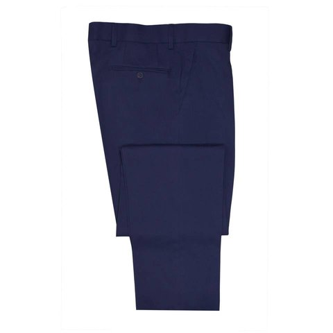Flat Front Cotton Drill Trousers - Navy