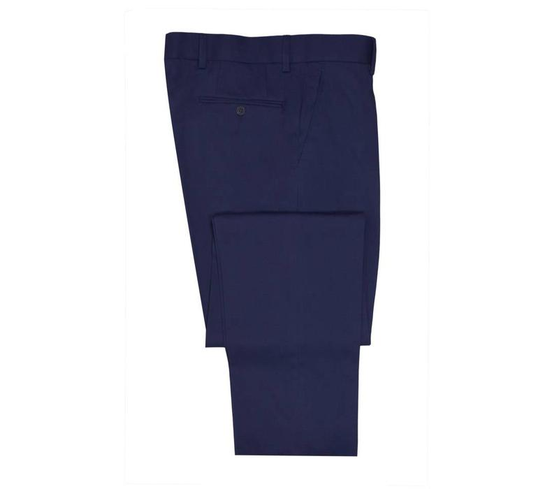 Flat Front Trousers - Navy Cotton Drill