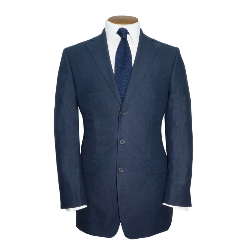 Linen 3 Button Jacket Navy