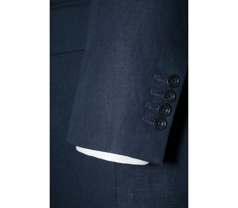 Linen 3 Button Suit Jacket Navy