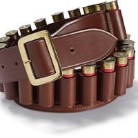 Leather Cartridge Belt, Open-Ended - Chestnut