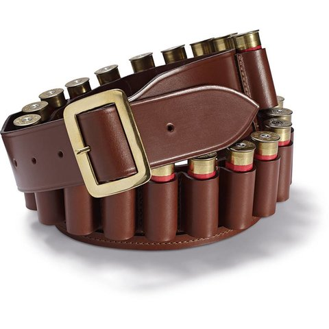 Leather Cartridge Belt, Open-Ended - Tan
