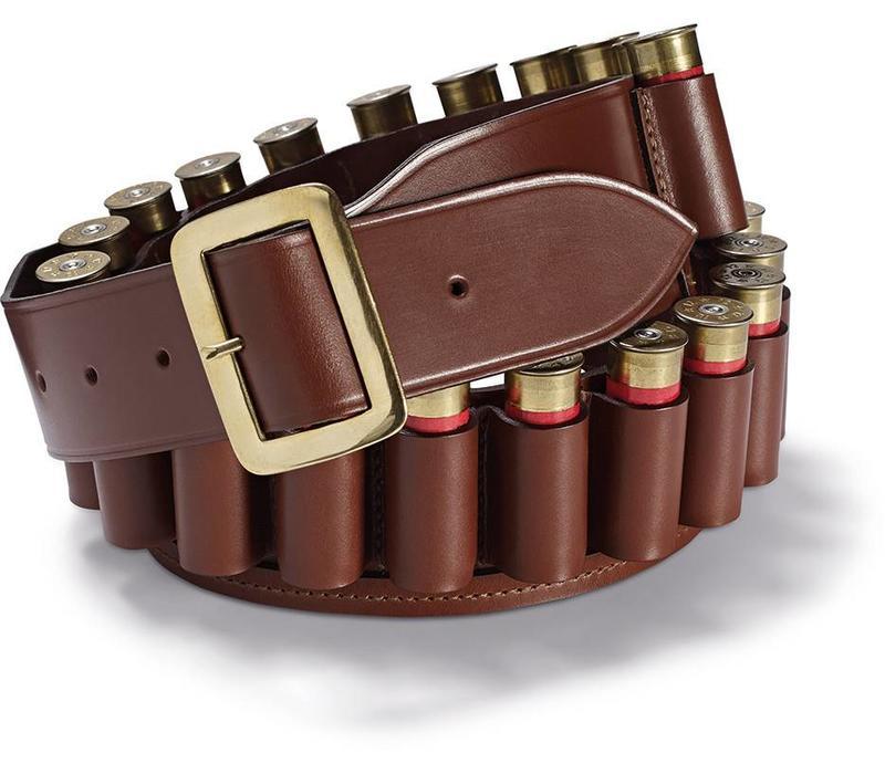 Leather Cartridge Belt, Open-Ended - Tan