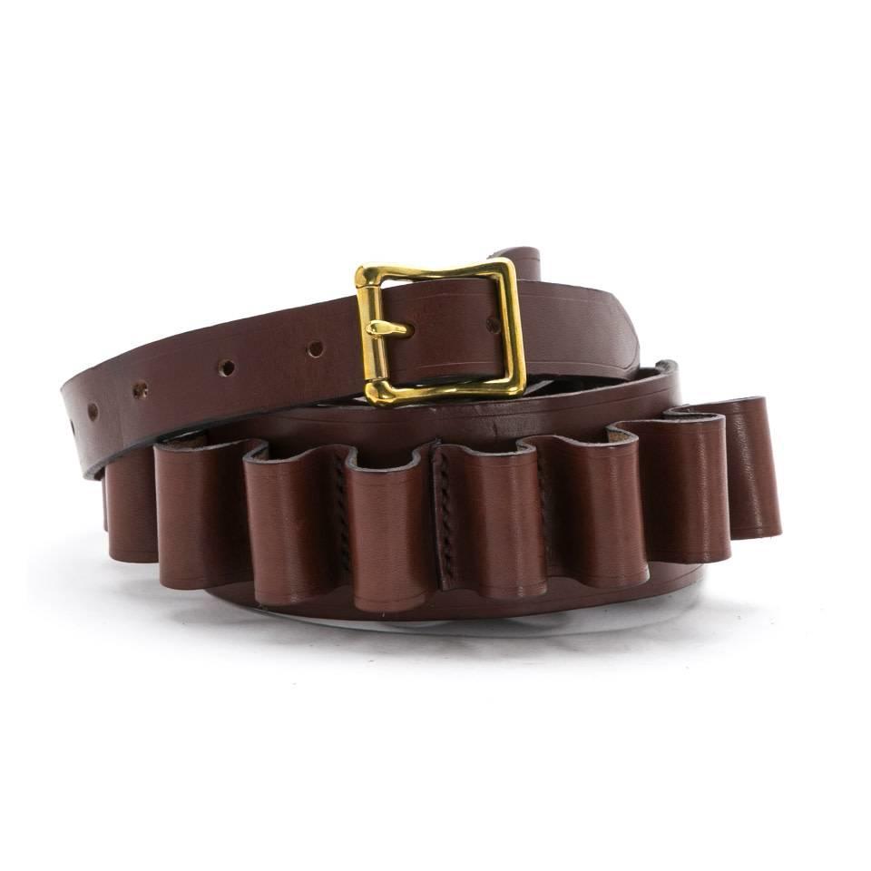 Hand-stitched Leather Cartridge Belt - Tan