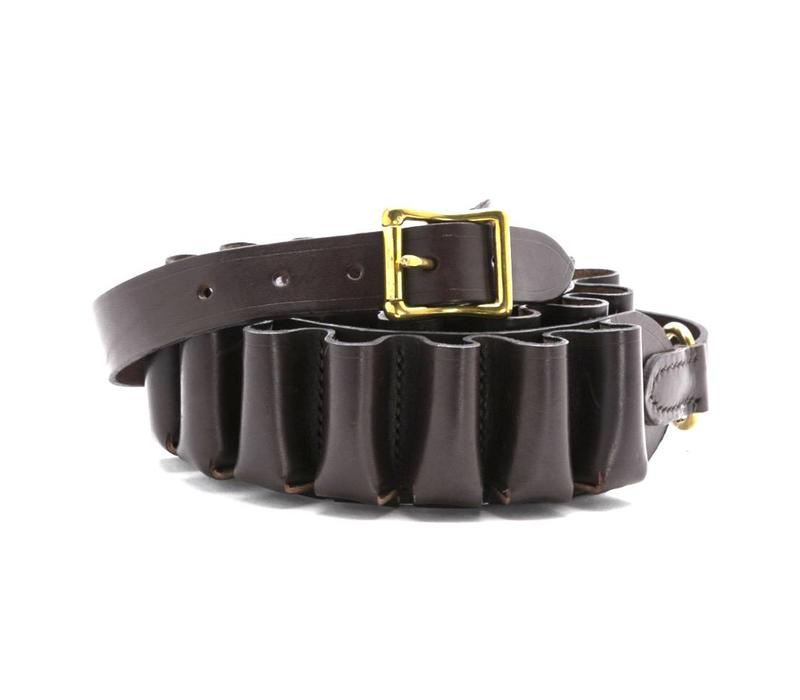 Hand-stitched Leather Cartridge Belt - Brown