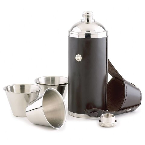 Cylinder Flask with Stainless Steel Cups