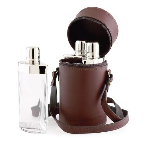 Travel Bar with 3 Glass Flasks