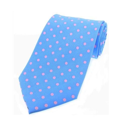 Twill Silk Tie, Spot Print - Blue/Pink