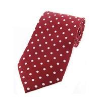 Twill Silk Tie, Spot Print - Burgundy/White